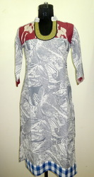 IS 03T Grey Leaf Print Cotton Kurti