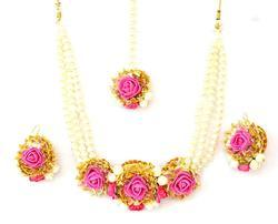 Pink Gota Patti Jewelry Necklace With Mang Tika & Earrings Set