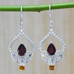 925 Sterling Silver Jewelry Garnet & Citrine Gemstone Stone Earring