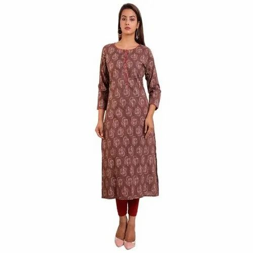 Casual Wear 3/4th Sleeve Ladies Long Cotton Printed Kurti, Size: M-XXL, Machine and Hand Wash