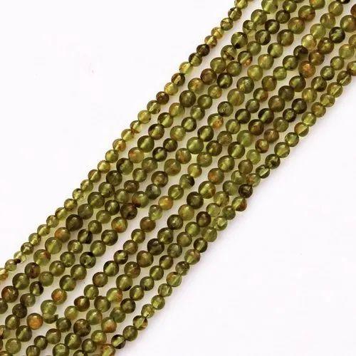 Green Plain Peridot Round Beads