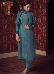 Teal Blue And Midnight Blue Handwork Pant Kameez With Chanderi Dupatta