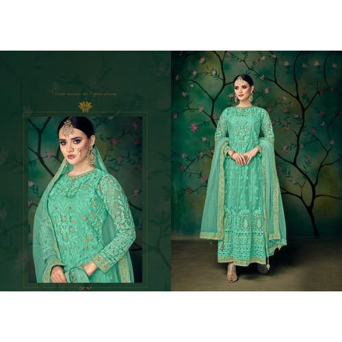 521f29cb55 Green Full Sleeve Ladies Wedding Embroidered Suit