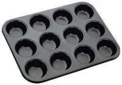 12-Slot Cup Shape 3D Nonstick Muffin Cup Cake Pan Mould Outperform Premium Black Aluminium