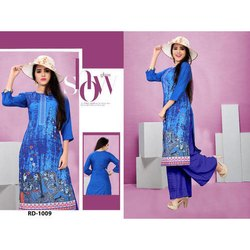 Rayon Digital Printed 3/4th Sleeve Kurti