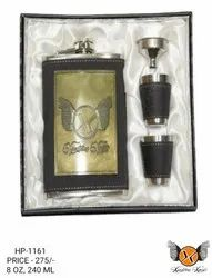 Leather Hip Flask Set