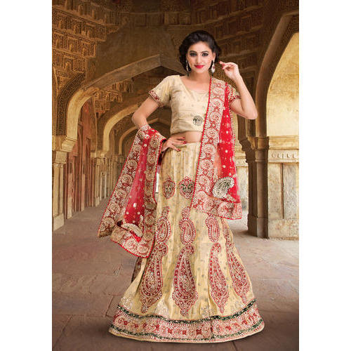 Chanderi Dubka Work Semi-Stitched Bridal Lehenga