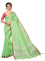 Sangini Green Pure Linen Cotton Saree