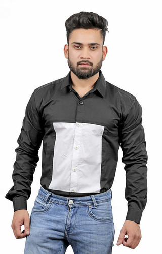 Black And White Parties And Casual Wear Men Square Box Design Shirt
