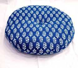 Indian Handmade Cotton Indigo Foot Stool Ottoman Pouf