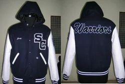 Navy Hood Varsity Jacket