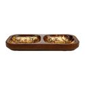 Wooden Twin Dish Serving Platter with Gold Foil Finish