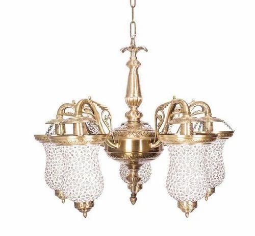 Captivating Five Light Brass Chandelier, Chandelier Light - Fos ...