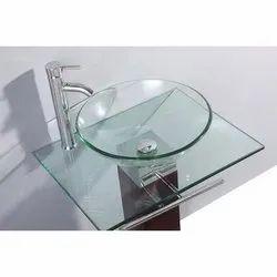 Wall Mounted White Designer Glass Wash Basin, For Bathroom