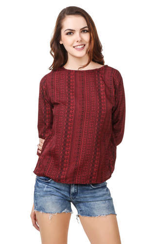 Girls Tops - Crepe Tops Full Sleeves Manufacturer From New -1397