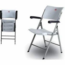 HD Polymer Ezee Arm White Folding Chair