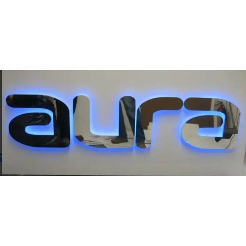 Stainless Steel Metal Letter LED Signage, Shape: Rectangle