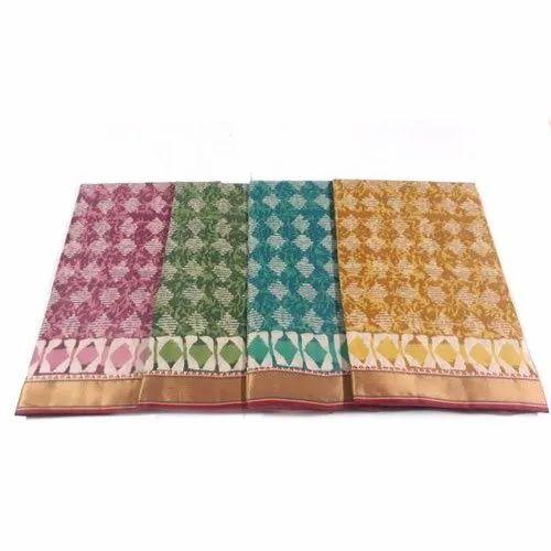 Casual Wear Ladies Printed Cotton Resham Border Saree