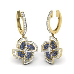 The Derina Gemstone with Diamonds Earrings 18K Yellow Gold 0.62 Ct IJ-SI