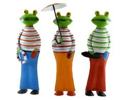 Set of 3 Decorative Frog Home Decor Garden Statue Hand Crafted Iron Sculpture