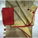 Optional Party wear Pure Linen Saree, Machine Made, 5.5 m (separate blouse piece)