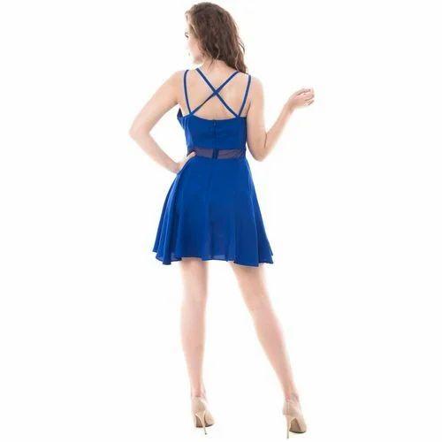 bbceea59908b Plain Party Wear Blue Skater Dress, Rs 799 /piece, Blueleaf | ID ...