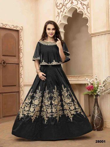 4903463c8c Tafeta Silk Black Heavy Designer Anarkali Salwar Kameez, Rs 1495 ...