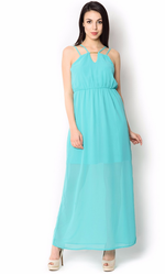UR-492 Sky Blue Party Wear Dress