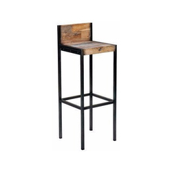 Long Iron And Wood Bar Stool