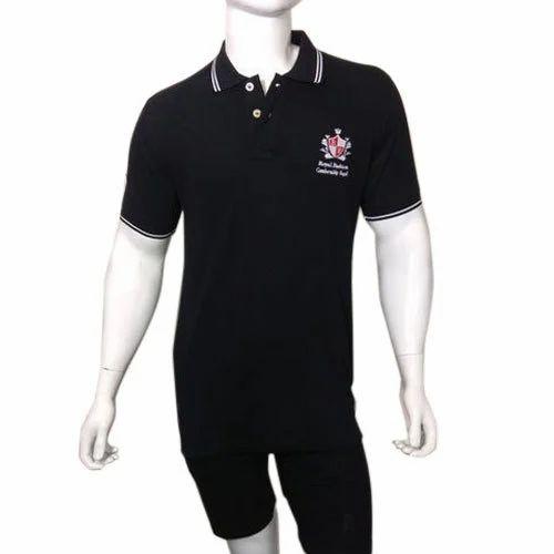a9d93ceeea5 Men  s Cotton Black Polo Neck T Shirt
