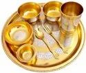 Silver Gold Plated Brass Thali Set