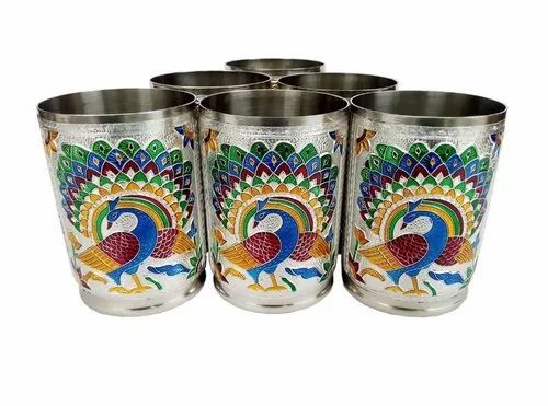 Sajani Stainless Steel Decorative Meenakari Glasses Set Of 6 for Home