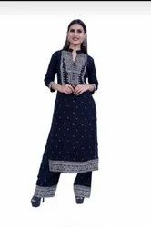 Printed Hand Work Rayon Kurti With Printed Plazzo Set
