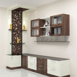 Brown and White Wooden Kitchen Crockery Unit