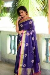 Raw Silk with Embroidered Work Saree