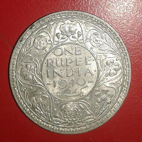 One Rupees Silver Coin 1940