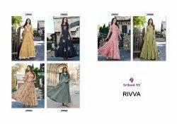 Indo Western Arihant Nx Rivaa Heavy Maslin Silk Gown Kurti Catalog