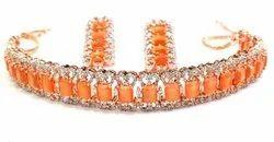 库马尔珠宝设计师时尚水晶桃锆石雕刻项链套