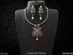 Dual Elephant Oxidized Temple Necklace Set