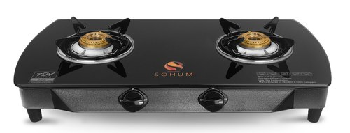 Sohum Black Two Burner PNG Gas Stove with Safety Device