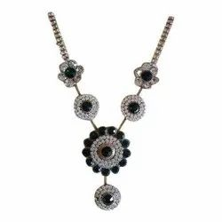 Party Wear Multicolor Silver Plated Fashion Necklace, Packet