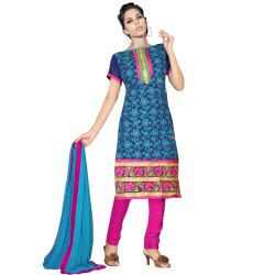 Navy Blue and Pink Coloured Unstitched Salwar Suit
