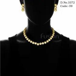 1 Line Ethnic Kundan Necklace Set