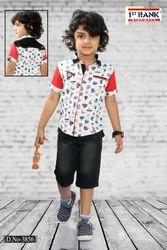 Cotton (shirt) Casual Wear Boys Designer Capri Set