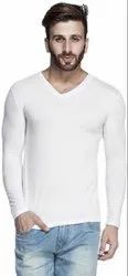 White Cotton Plain Styles T Shirt