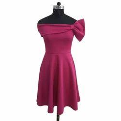Ladies Poly Cotton Off Shoulder Plain Dress, Size: S-4 XL