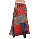 Patchwork Cotton Wrap Skirt