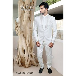 White Embroidered Mens Hand Work Beaded Suits