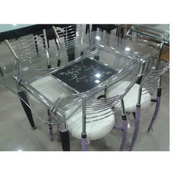 Gayatri Furniture Steel and Glass Dining Table Set, for Home
