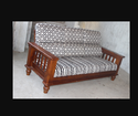 Brown And White Teak Wooden Sofa